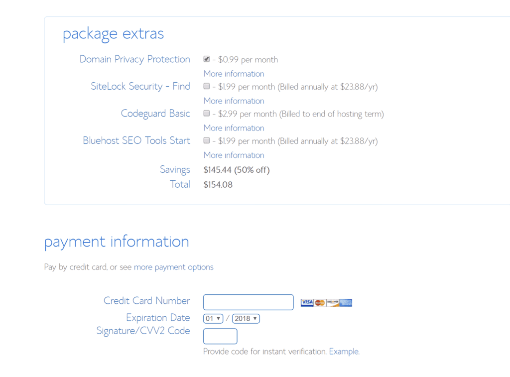 Bluehost extras options
