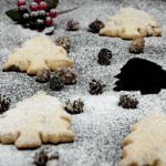 Don't these Christmas tree shortbreads look delicious. Icing sugar snow and Christmas decorations. Pack them up in Christmas wrapping or present them to be munched on at any time. A very simple Christmas recipe. Yum | theyumyumclub.com