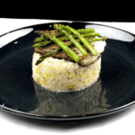 Pan-fried cod with leek risotto! What a seafood recipe. Such a tasty dish & very versatile. Use any seafood with the risotto. Look at the scallops here! Yum! | theyumyumclub