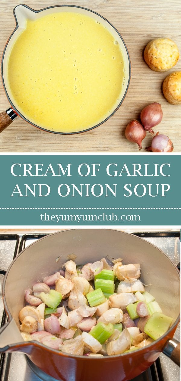 Cream of garlic and onion soup. How much more French can you get? Just remember, if you're planning on kissing after dinner you'll need to share...???? Yum! | theyumyumclub.com