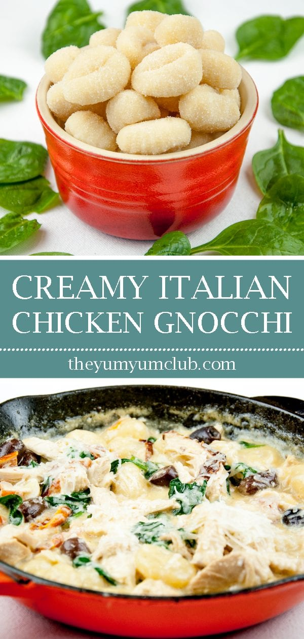 This creamy chicken gnocchi recipe brings the taste of Italy right to your own kitchen. Black olives. Sun-dried tomatoes. Baby spinach. Sounds good right? Yum! | theyumyumclub.com