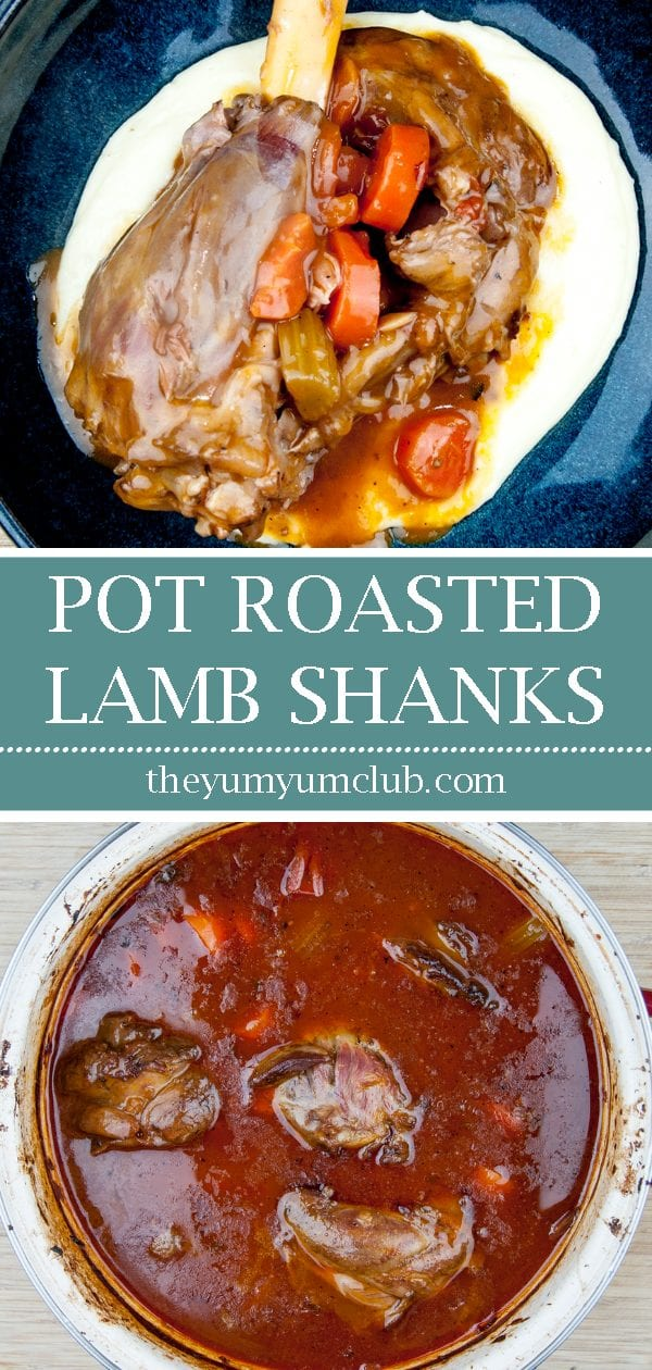 Pot roasted lamb shanks. Need I say more...? Surely the best cut of lamb there is. Slow roast in red wine and seasonal vegetables. Pure culinary bliss. Yum! | theyumyumclub.com