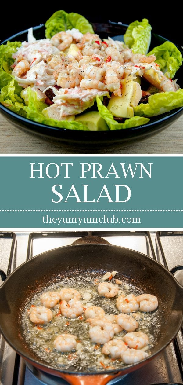 This is an amazing hot prawn salad. So tasty and so yummy. Yes, there's a touch of cheese and slaw but combined with the prawns, chilli and garlic! Wow!! | theyumyumclub.com