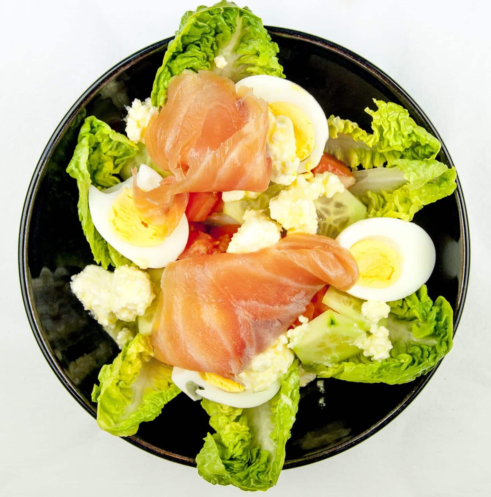 This is a fantastic smoked salmon and feta salad. The feta and the smokiness od the salmon really work. A touch of Greece in your own home Yum!