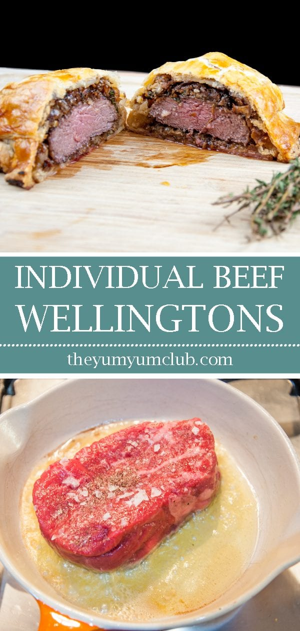This individual beef wellington recipe is a yummy treat for one or more. Beef tenderloin, rich duxelle, and flakey puff pastry. Decadence at is best ???? | theyumyumclub.com