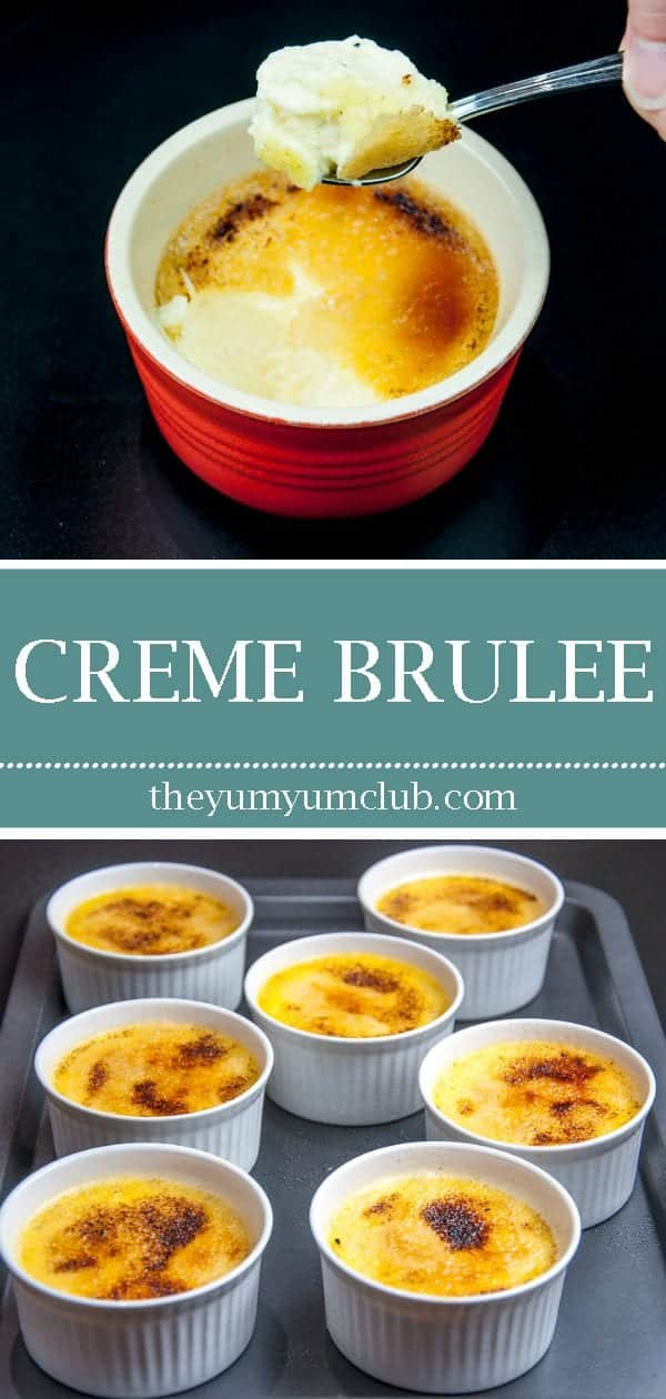 Creme brulee is a classic French dessert of rich creamy custard with a crunchy caramelized sugar topping. This recipe really is pure decadence. Yum! 😋 | theyumyumclub.com