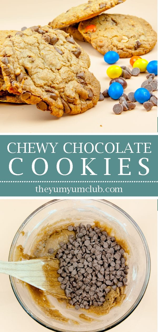 Chewy chocolate cookies. Just like the ones you get from your local coffee shop. Sweet, chewy, chocolaty and so yummy. Make them at home. Eat them anytime. | theyumyumclub.com