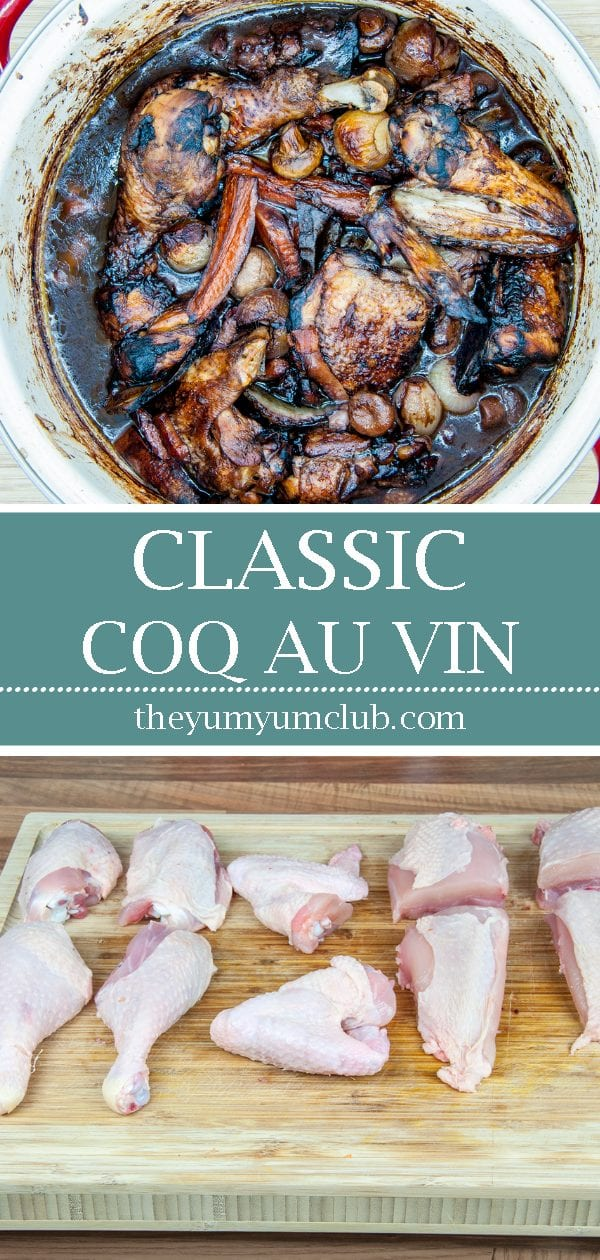 Classic coq au vin. A wonderfully rustic French casserole of chicken in red wine. Simple to make and very tasty. A great recipe for all of the family. Yum! | theyumyumclub.com