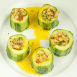 Cucumber potted shrimp. Serve as a delicious appetizer for your dinner party or as a simple nibble as your guests arrive. Shrimp, garlic and chilli all served in fresh cucumber. Yum! | theyumyumclub.com