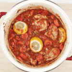 Sweet pepper & lemon chicken cacciatore. An Italian take on a French classic. Chicken thighs cooked in traditional tomato and herb sauce. Yum! | theyumyumclub.com