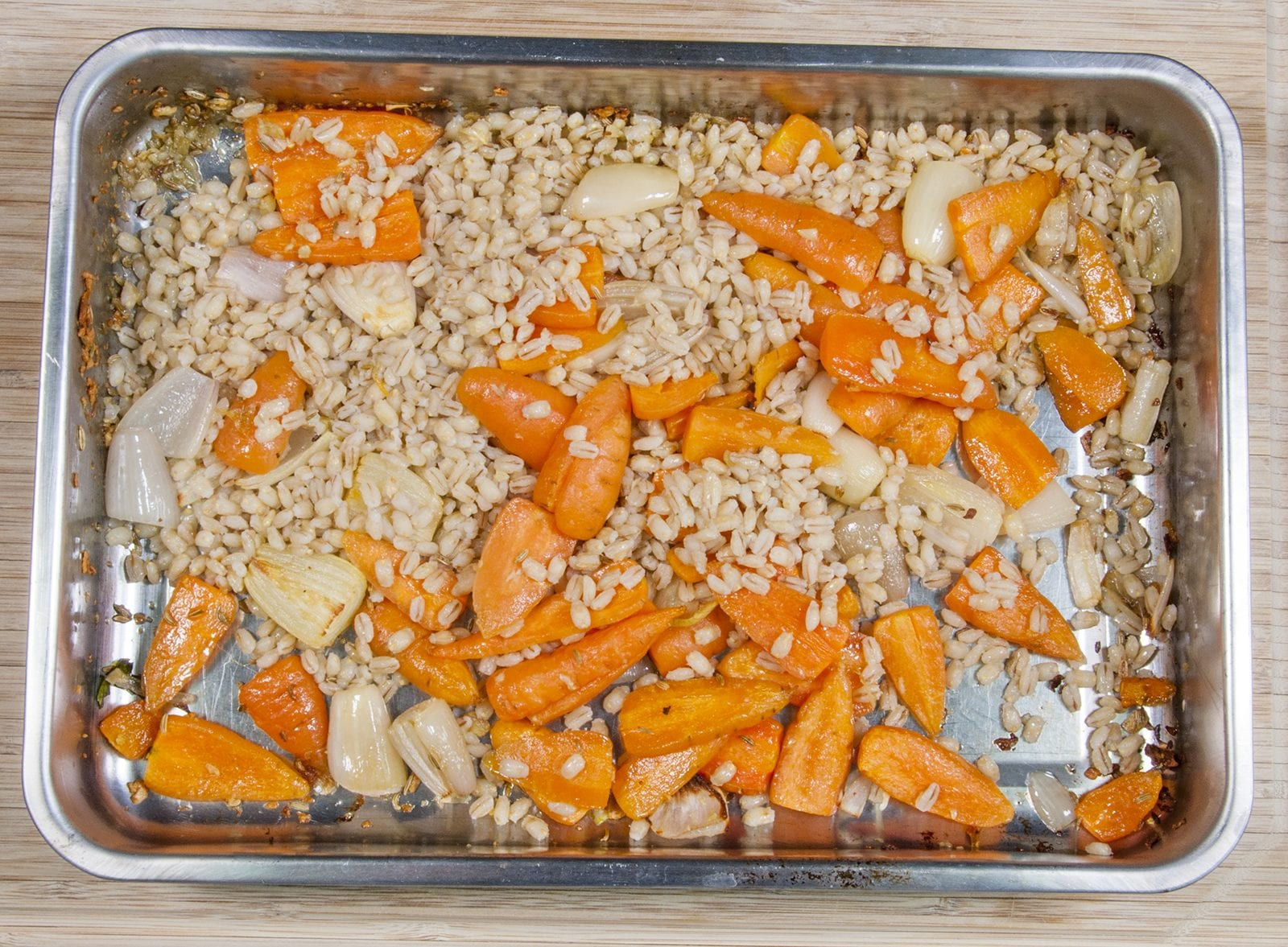Once cooked add the pearly barley | https://theyumyumclub.com/2019/04/22/braised-carrot-pearl-barley-salad/