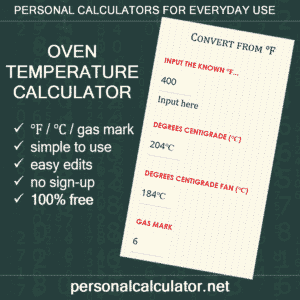 Kitchen Calculator. Convert oven temperatures | https://personalcalculator.net/oven-temperature-calculator/