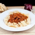Leftover Marrakesh Lamb Ragu Pappardelle. North Africa meets the Mediterranean. What a food combination! What a recipe! And using leftovers means no waste!! | theyumyumclub.com