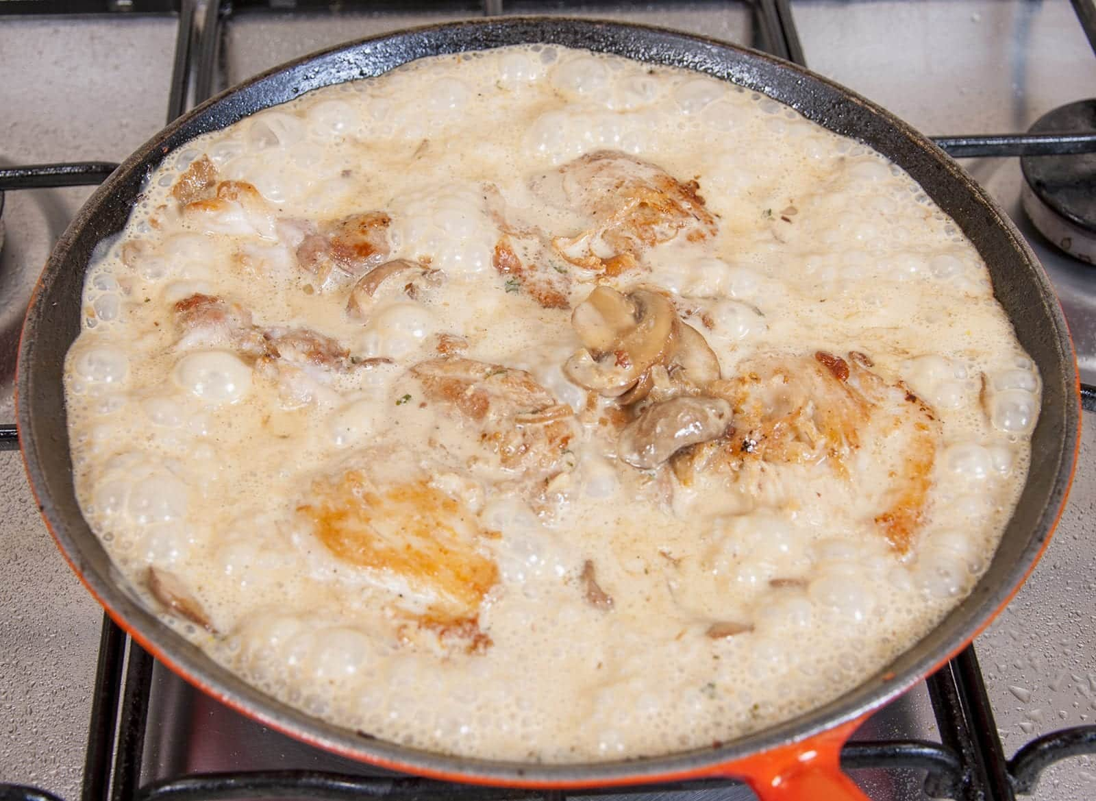 Creamy sherry and thyme chicken thighs. A wonderfully mouthwatering and delicious recipe. Add in wild mushrooms and you have one very special dish. Yum!   theyumyumclub.com