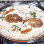 Pork loin in brandy and cream. Add the pork and carrots | https://theyumyumclub.com/2019/05/01/pork-loin-brandy-cream/