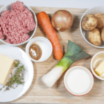 Cheddar topped shepherd's pie. Gather all of the ingredients together | https://theyumyumclub.com/2019/05/16/cheddar-topped-shepherds-pie/