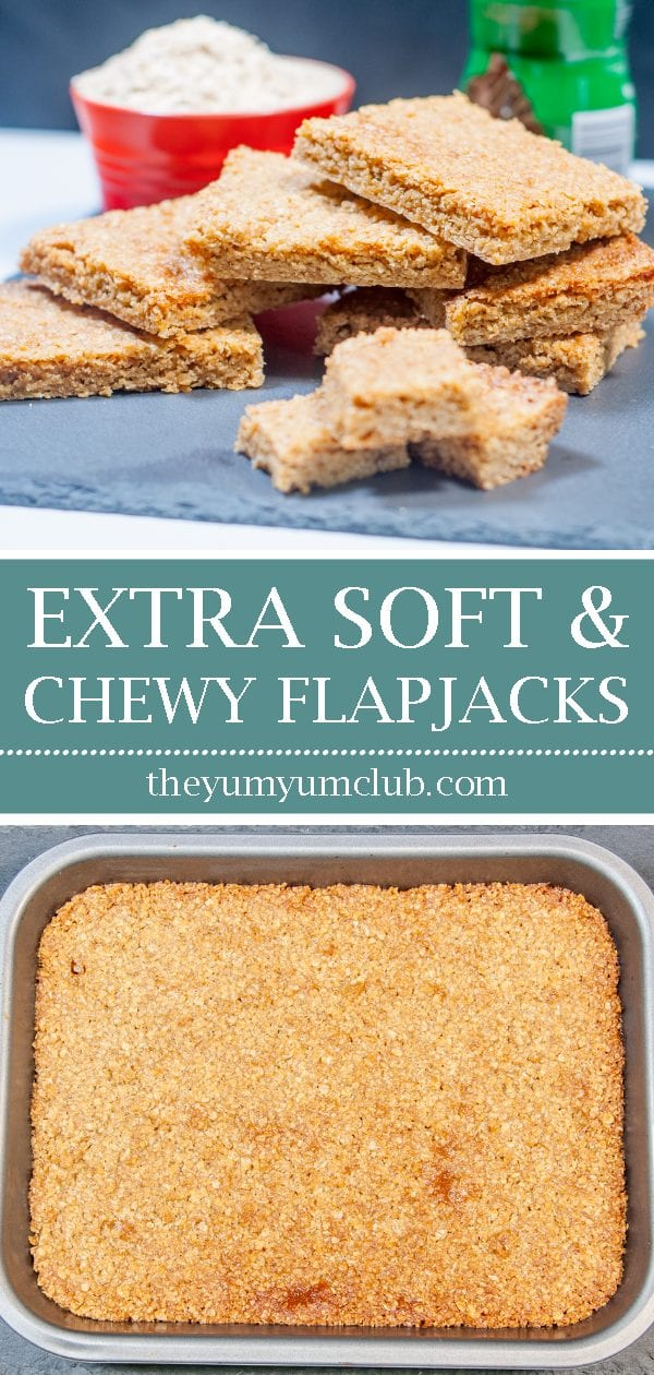 Extra soft and chewy flapjacks | https://theyumyumclub.com/2019/06/01/extra-soft-and-chewy-flapjacks/