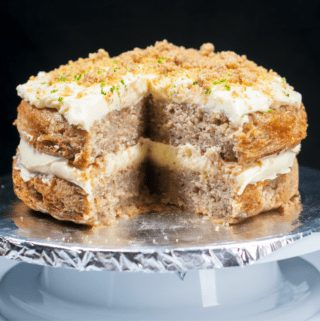 Humble Hummingbird Cake With Sweet Pecan Dust | https://theyumyumclub.com/2019/06/05/humble-hummingbird-cake-sweet-pecan-dust/