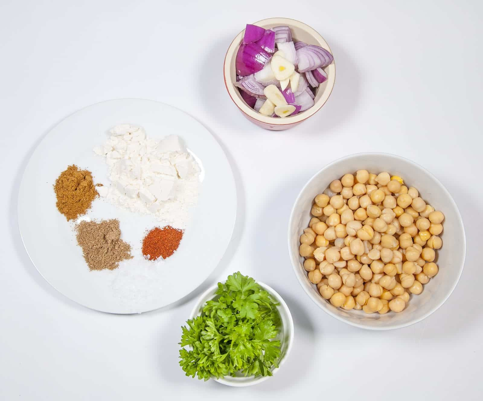 Gather the ingredients together   https://theyumyumclub.com/2019/07/05/falafels-fit-for-the-pharaohs/