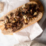 fill the baguette with the meat and cheese mixture.