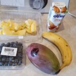 Banana, Mango and Blueberry Smoothie ingridients together